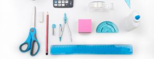 Birds-eye view of colorful office supplies